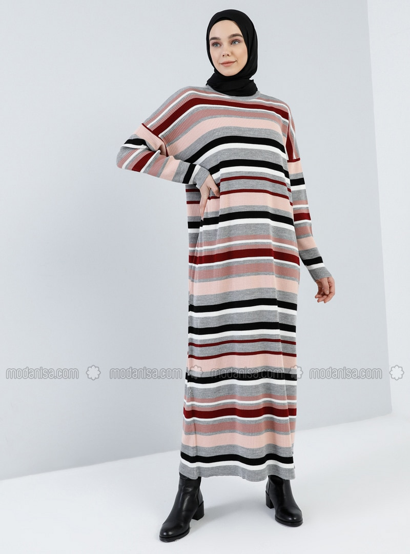 Gray - Stripe - Crew neck - Unlined - Acrylic -  - Dress