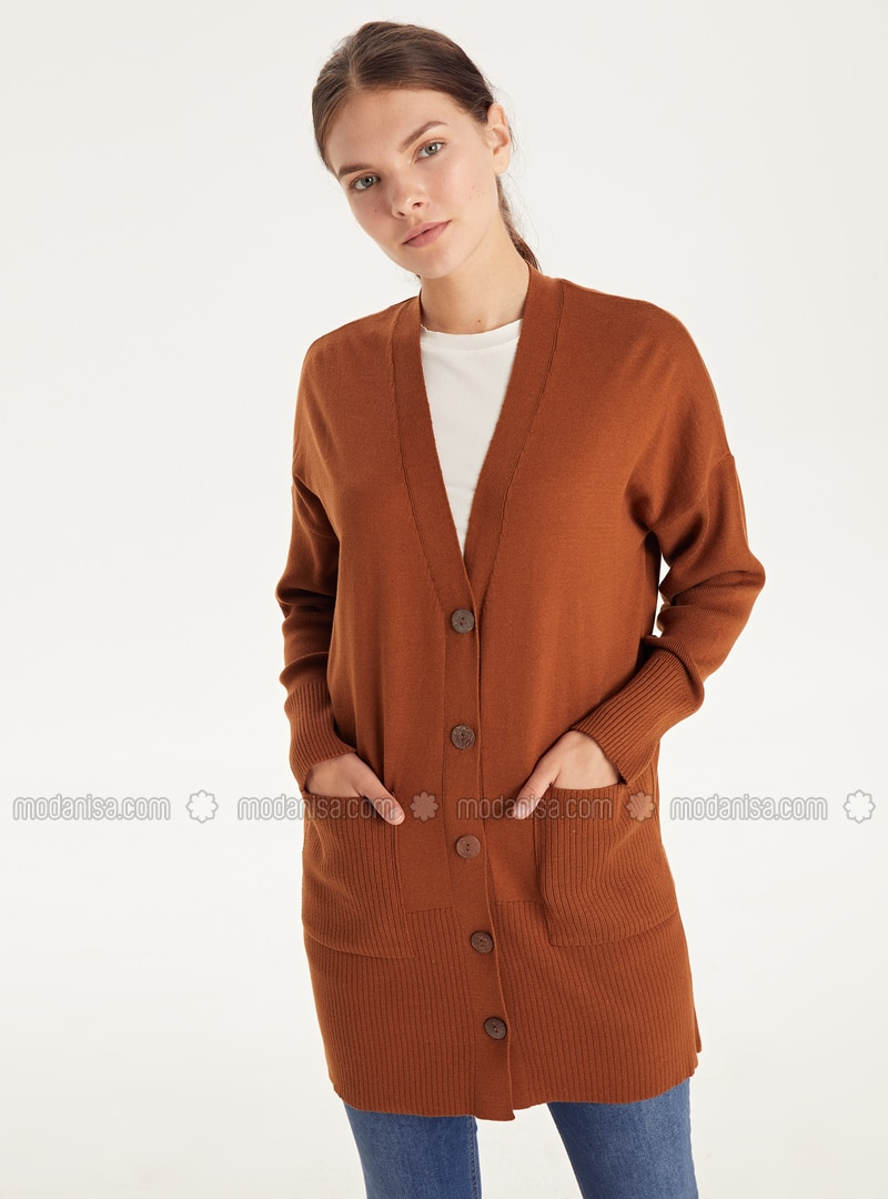 V neck Collar - Brown - Cardigan
