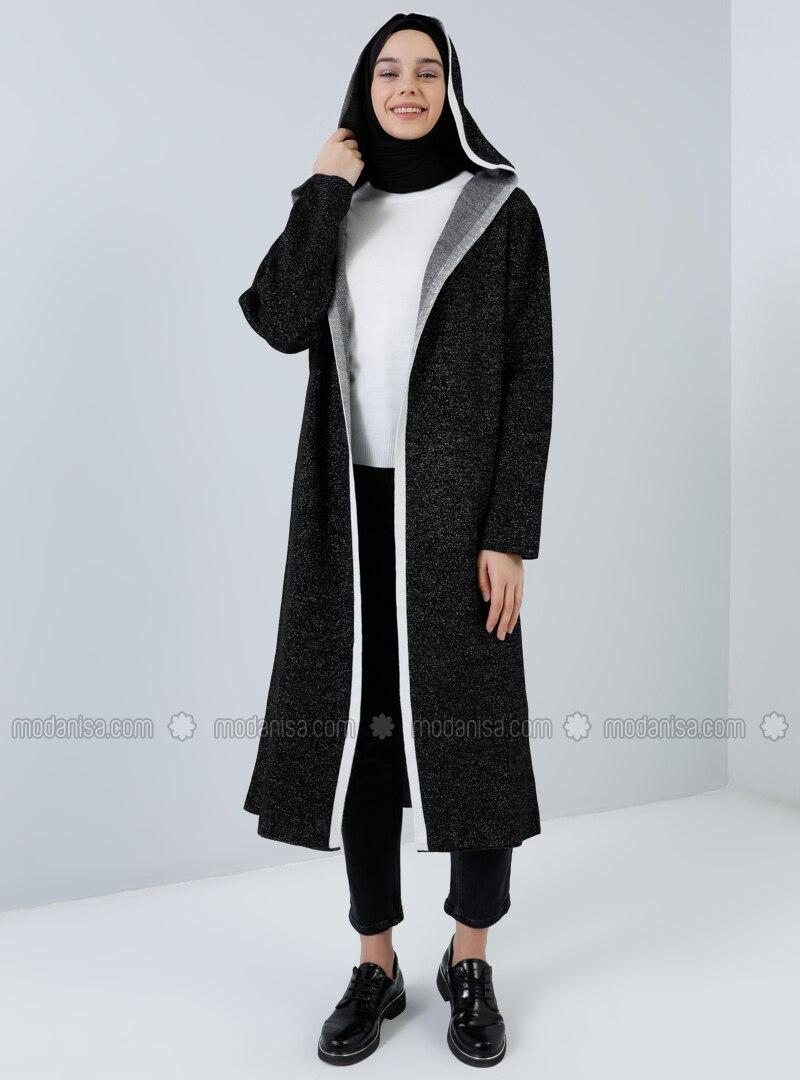 Ecru - Black - Acrylic -  - Cardigan