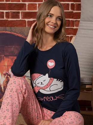 Navy Blue - Pink - Pyjama