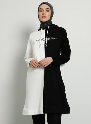 Ecru - Black -  - Tunic
