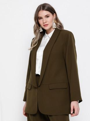 Khaki - Shawl Collar - Fully Lined - Plus Size Jacket