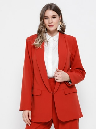 Terra Cotta - Shawl Collar - Fully Lined - Plus Size Jacket - Alia