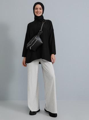 White - Ecru - Stripe -  - Pants