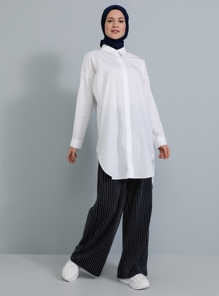 Navy Blue - Stripe -  - Pants