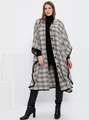 Black - Mink - Acrylic - Plus Size Poncho - Alia