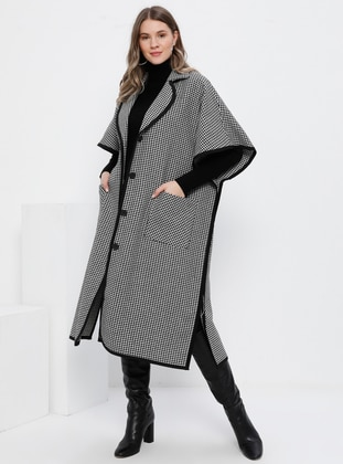 White - Black - Shawl Collar - Viscose - Plus Size Poncho - Alia