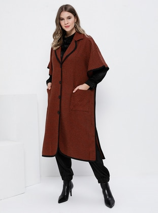 Black - Cinnamon - Shawl Collar - Viscose - Plus Size Poncho