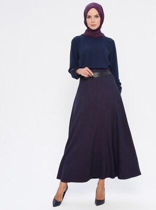 Purple - Fully Lined - Viscose - Skirt