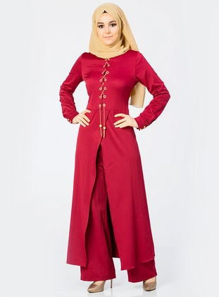 Maroon - Unlined - Crew neck - Jumpsuit