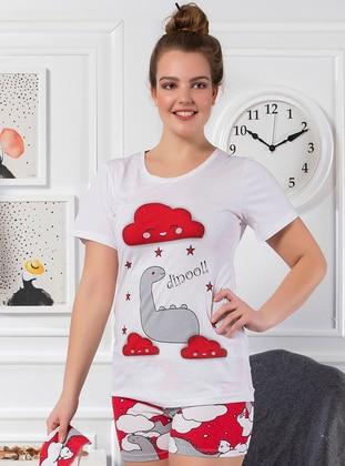 White -  - Short Set - Strawberry Homewear