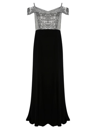Silver tone - Black - Fully Lined - V neck Collar - Modest Plus Size Evening Dress
