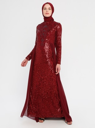 Maroon - Fully Lined - Crew neck -  - Viscose - Muslim Evening Dress