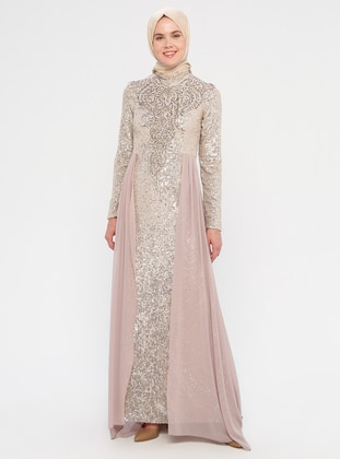 Gold - Fully Lined - Crew neck -  - Viscose - Muslim Evening Dress