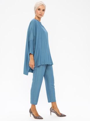 Blue - Unlined - Viscose - Suit