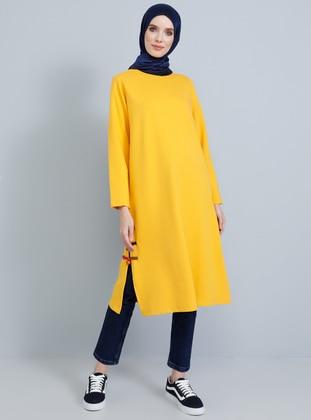 Yellow - Crew neck -  - Tunic