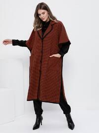 Black - Cinnamon - Shawl Collar - Viscose - Plus Size Poncho