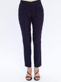 Purple - Multi - Viscose - Pants