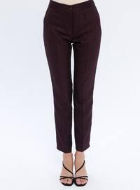 Plum - Multi - Viscose - Pants