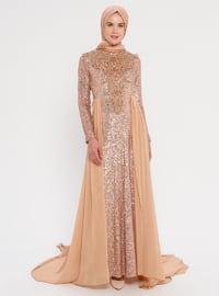 Copper - Fully Lined - Crew neck - - Viscose - Muslim Evening Dress