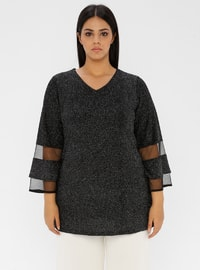 Smoke - V neck Collar - Plus Size Tunic
