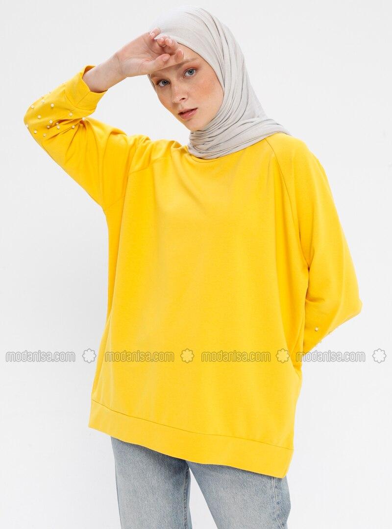 Yellow -  - Crew neck - Tracksuit Top