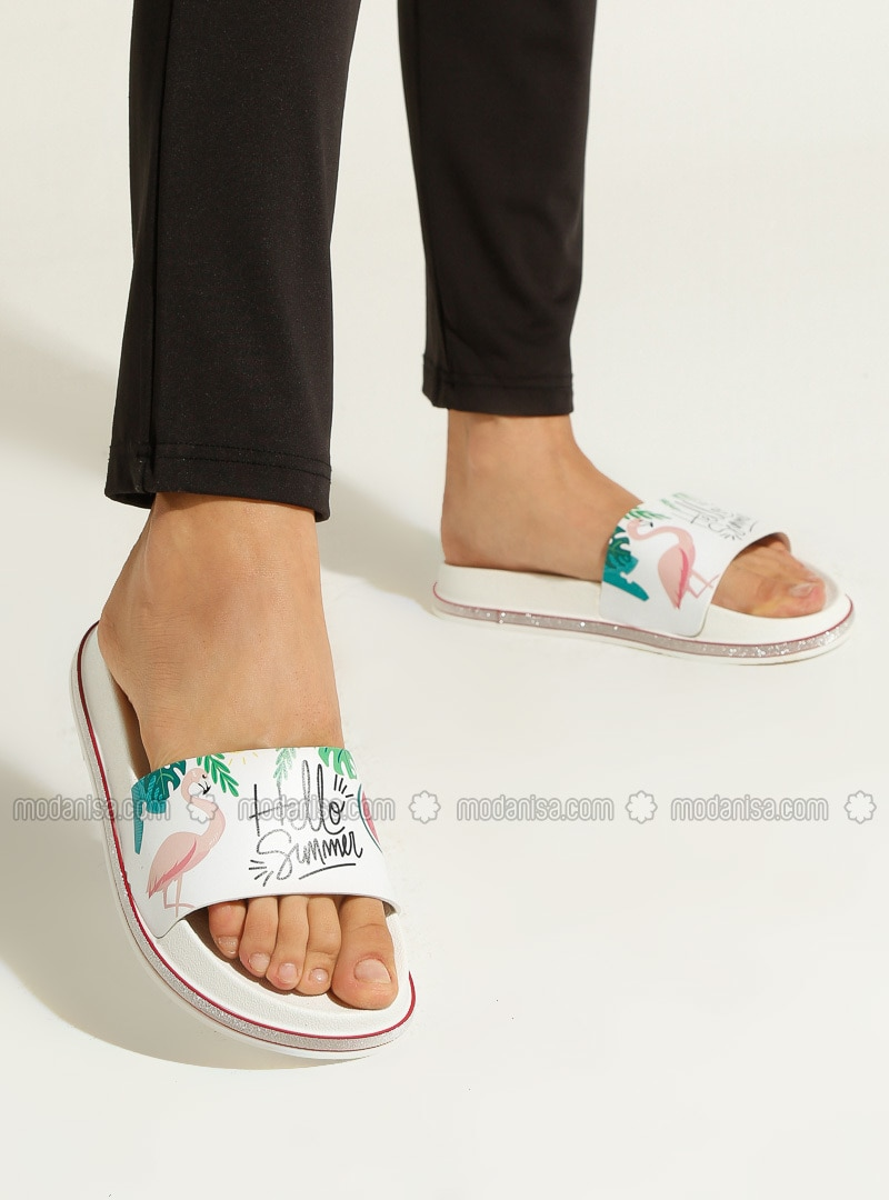 White - Pink - Sandal - Slippers