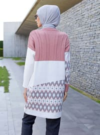 Gray - Powder - Geometric - Crew neck -  -  - Tunic