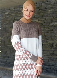 Powder - Mink - Geometric - Crew neck -  -  - Tunic