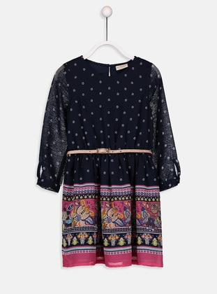 Printed - Navy Blue - Girls` Dress