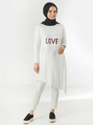 White - Crew neck - Viscose - Tunic