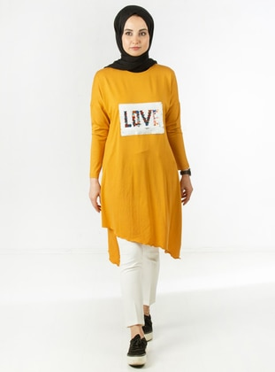 Mustard - Crew neck - Viscose - Tunic
