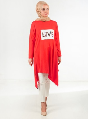 Coral - Crew neck - Viscose - Tunic