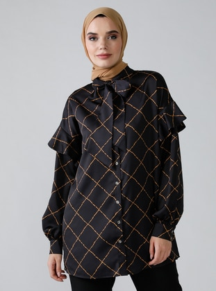Black - Geometric - Multi - Point Collar - Blouses