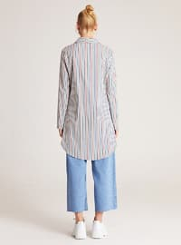 Blue - Green - Stripe - Point Collar -  - Blouses