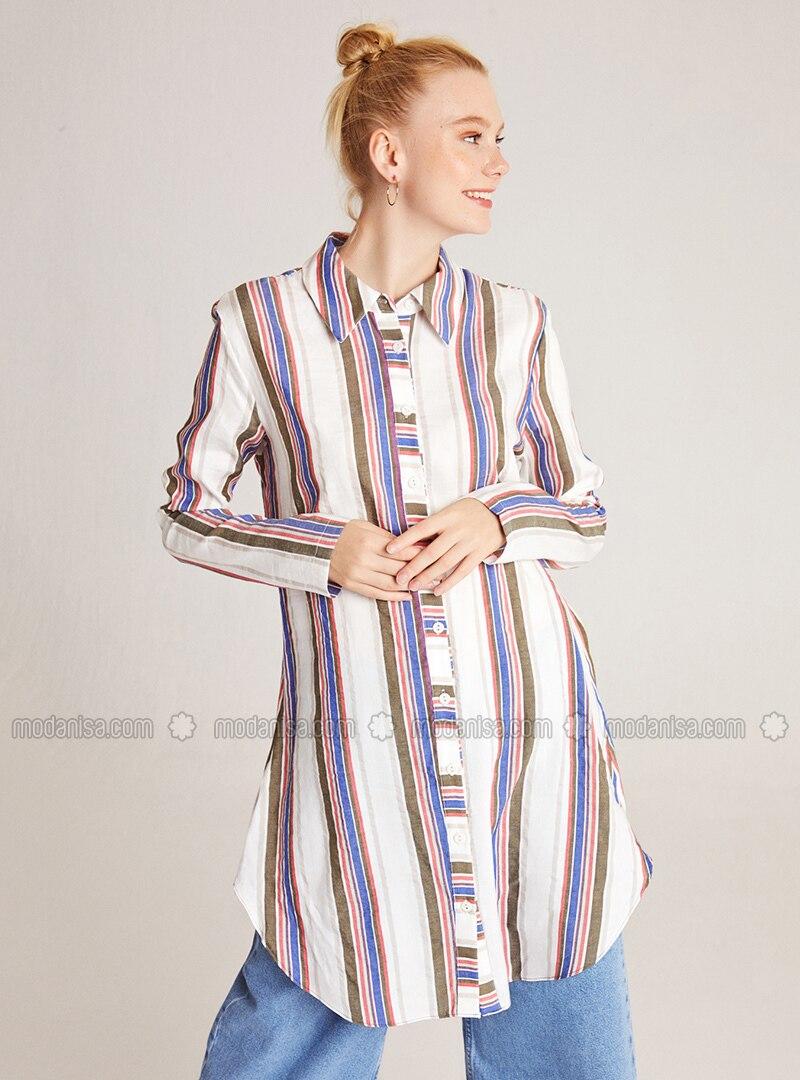 Multi - Stripe - Point Collar -  - Blouses