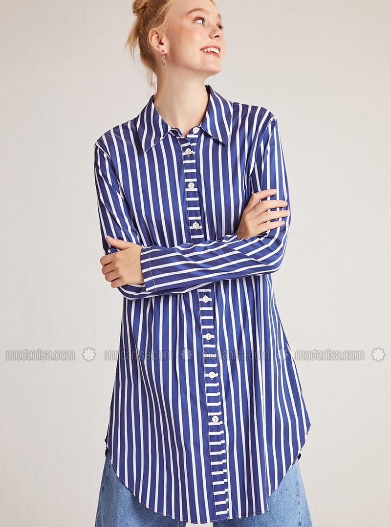 White - Blue - Stripe - Point Collar -  - Blouses