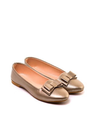 Gold - Flat - Flat Shoes
