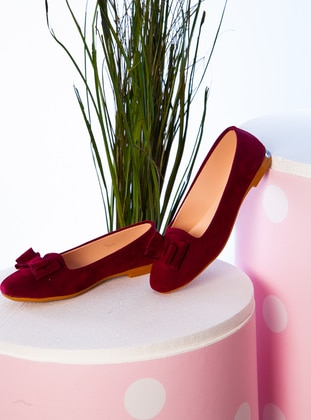 Maroon - Sport - Flat Shoes