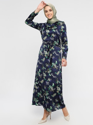 Navy Blue - Floral - Crew neck - Unlined - Dress