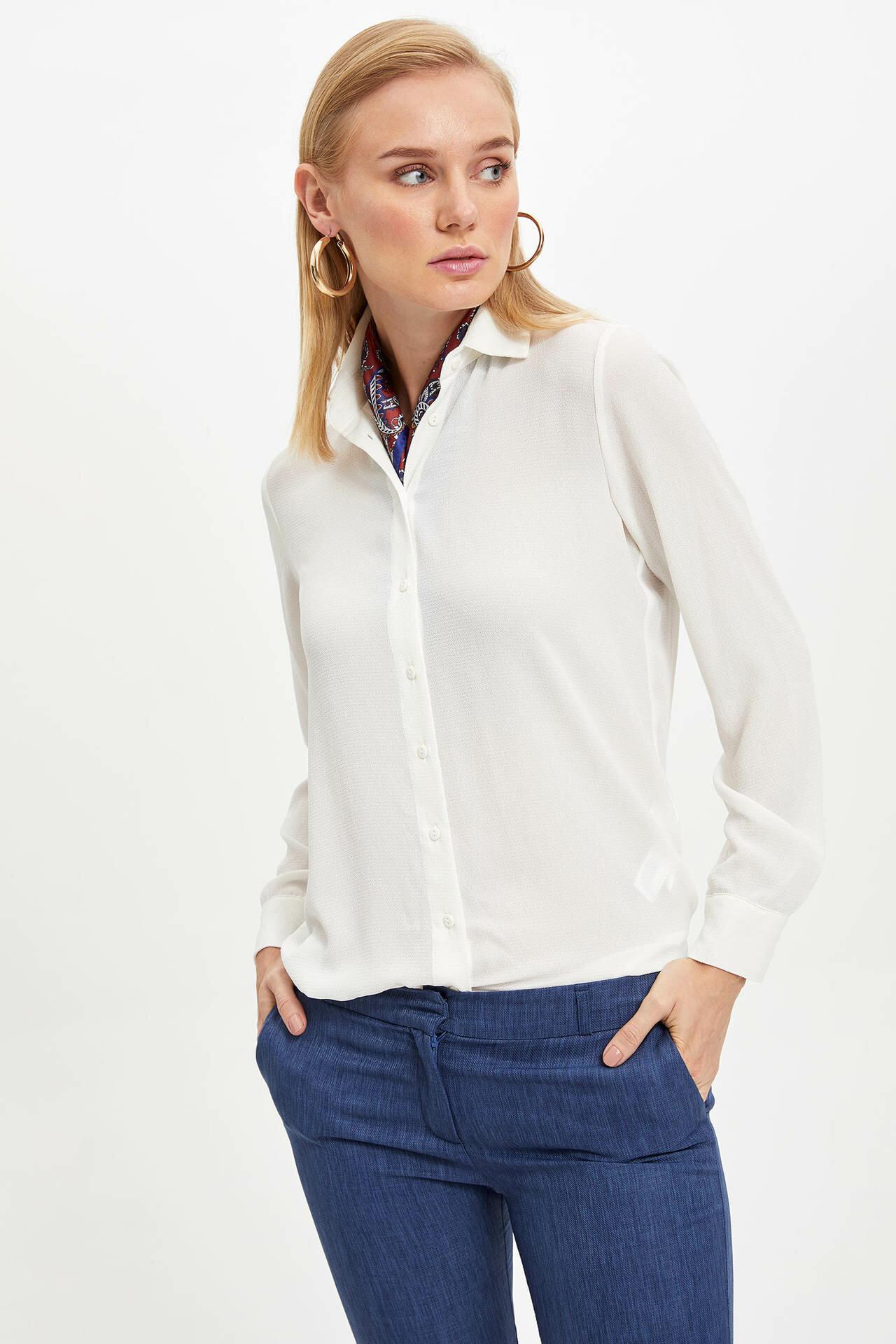 Tesettür Bluz Gömlek DeFacto Ekru Kadın 42