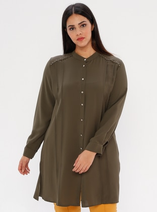 Khaki - Button Collar - Plus Size Blouse