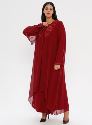 Maroon - Fully Lined - Crew neck - Muslim Plus Size Evening Dress