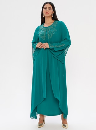 Green - Fully Lined - Crew neck - Muslim Plus Size Evening Dress