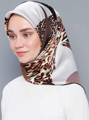 Multi - Leopard - %100 Silk - Satin - Scarf - Aker