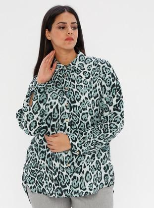 Green - Leopard - Point Collar - Plus Size Blouse
