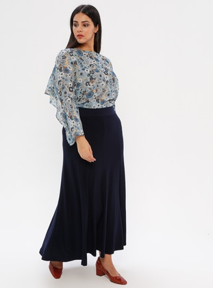 Navy Blue - Unlined - Plus Size Skirt