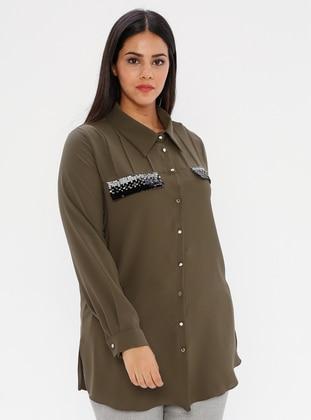 Khaki - Point Collar - Plus Size Blouse