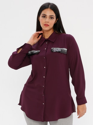 Plum - Point Collar - Plus Size Blouse