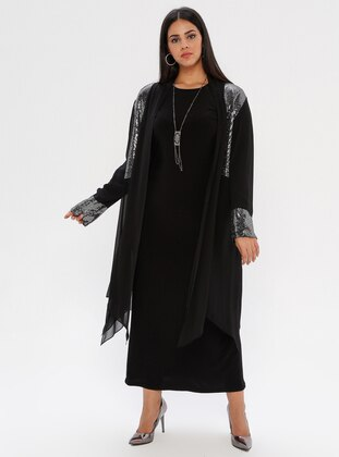 Silver tone - Unlined - Crew neck - Shawl Collar - Plus Size Dress